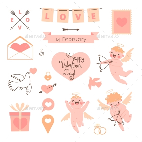 Valentines Day set of elements for design. - Valentines Seasons/Holidays
