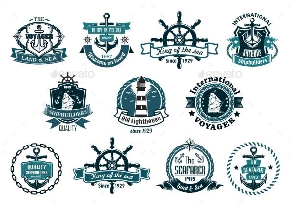 Dark Blue Nautical Labels - Travel Conceptual