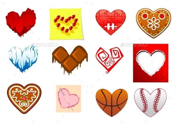 Colourful heart shapes set - Valentines Seasons/Holidays