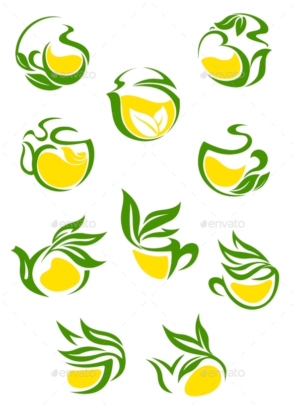 Green or Herbal Tea Icons - Food Objects