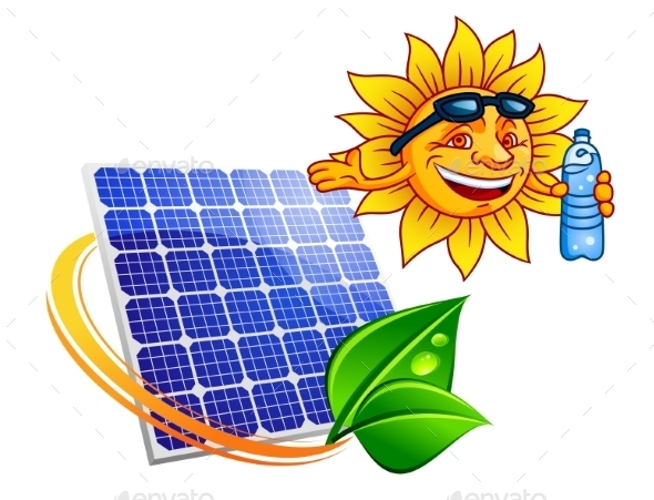 Solar Panel with Cartoon Sun Eco Concept - Technology Conceptual