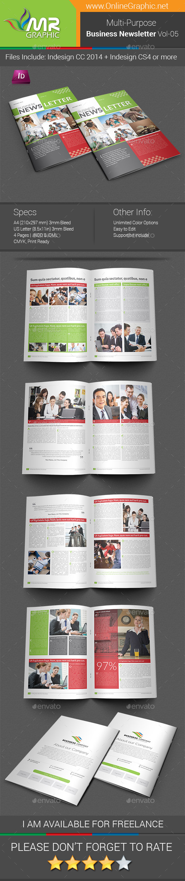 Multipurpose Business Newsletter Template Vol-05 - Newsletters Print Templates