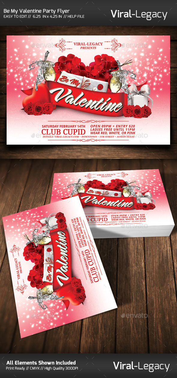 Be My Valentine Party Flyer - Flyers Print Templates