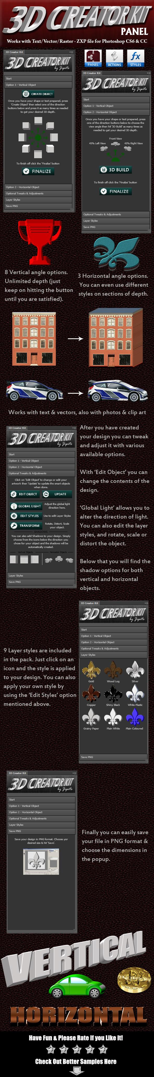 3D Creator Kit Panel - Utilities Actions