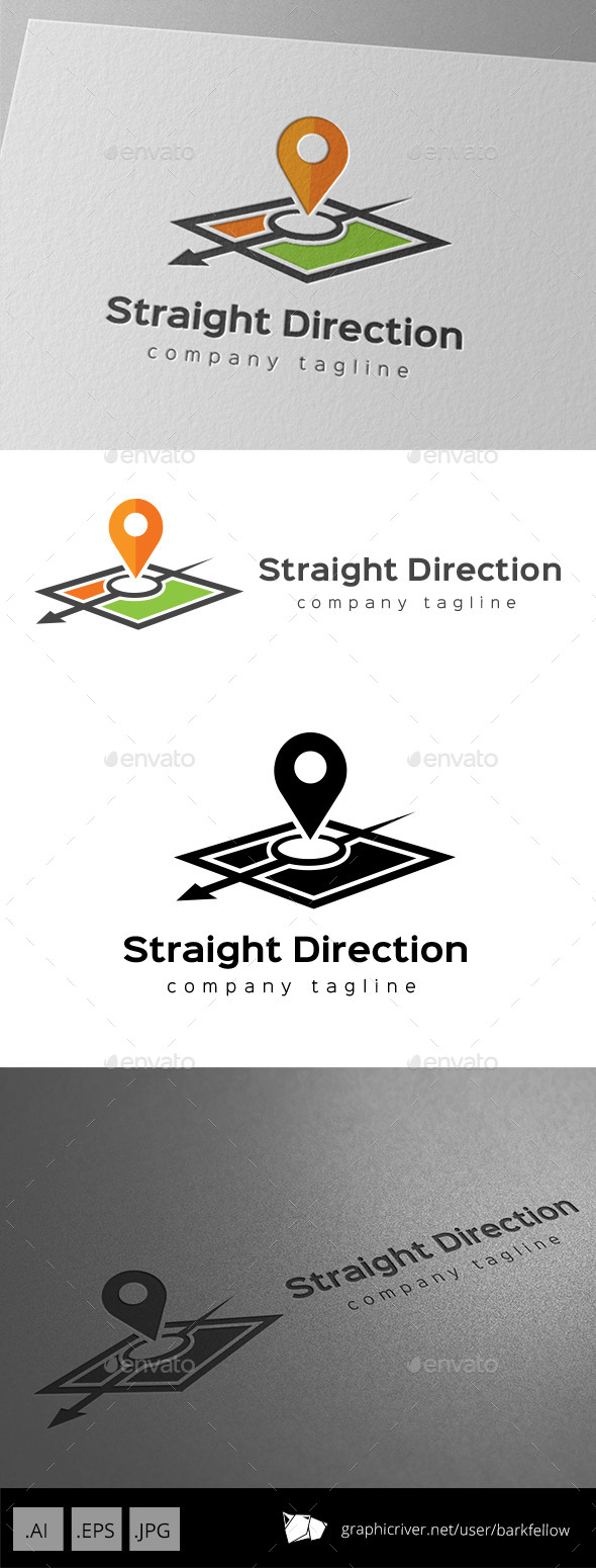 Arrow Map Direction Logo - Food Logo Templates