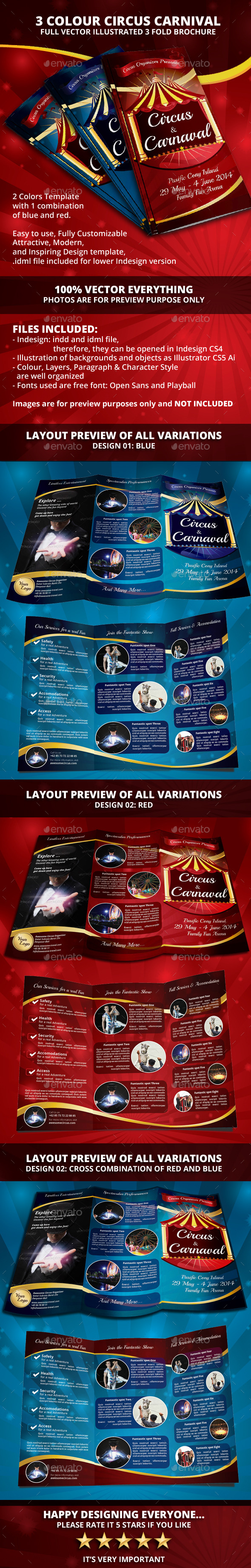 Circus Carnival 3 colour Trifold Brochure - Informational Brochures