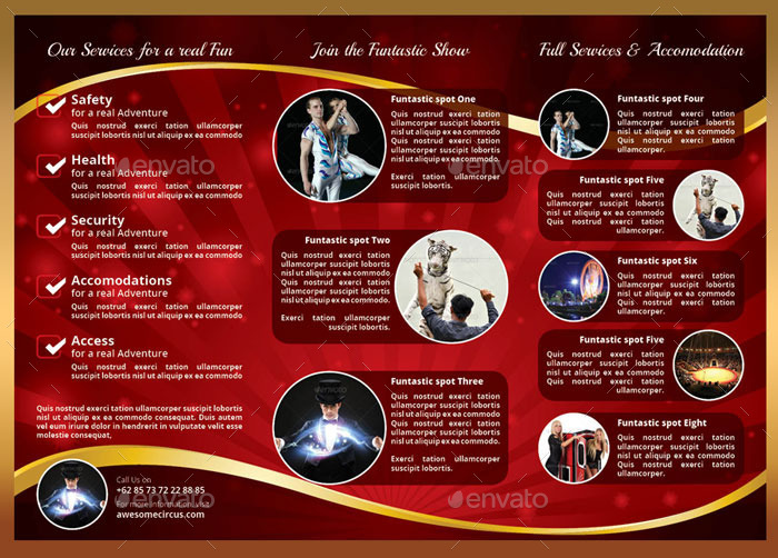 circus carnival 3 colour trifold brochure by nyomanfajar