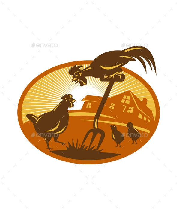 Rooster Retro Emblem - Animals Characters