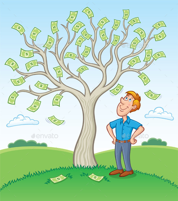 Man Standing Beside a Money Tree - Concepts Business