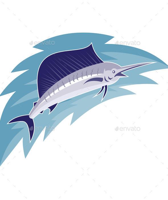 Sailfish Jumping Retro Style - Animals Characters