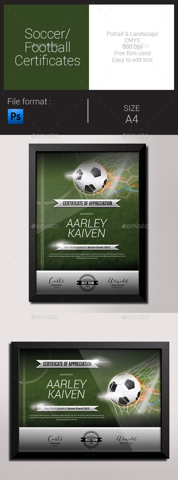 Soccer / Football Certificates - Certificates Stationery