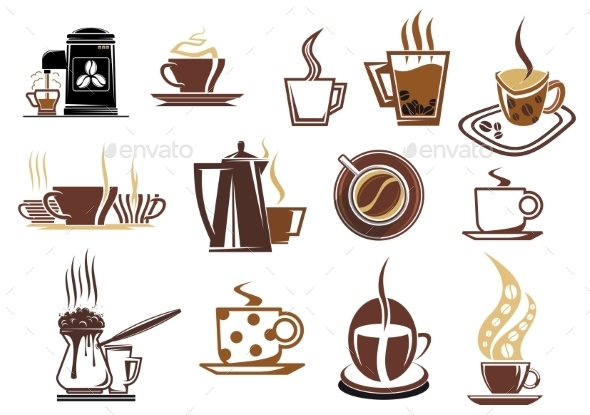 Brown Coffee Icons - Food Objects