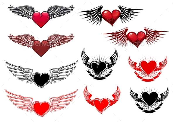 Heart Tattoos with Wings - Tattoos Vectors