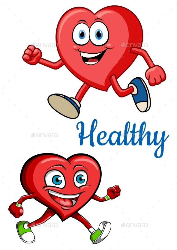 Cartoon Running Hearts Concept - Health/Medicine Conceptual