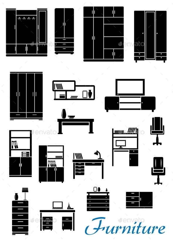 Black Wooden Furniture Icons - Objects Vectors