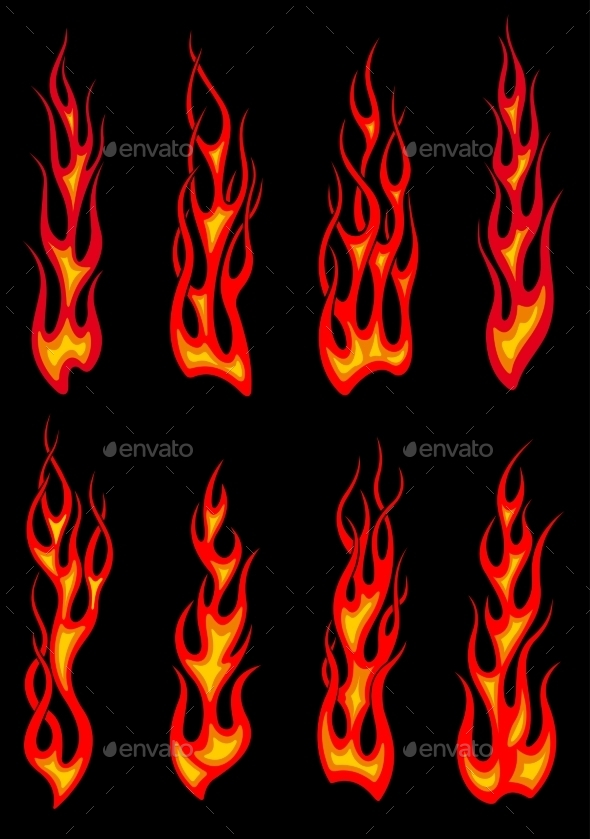 Tribal Red Flames Icons - Tattoos Vectors