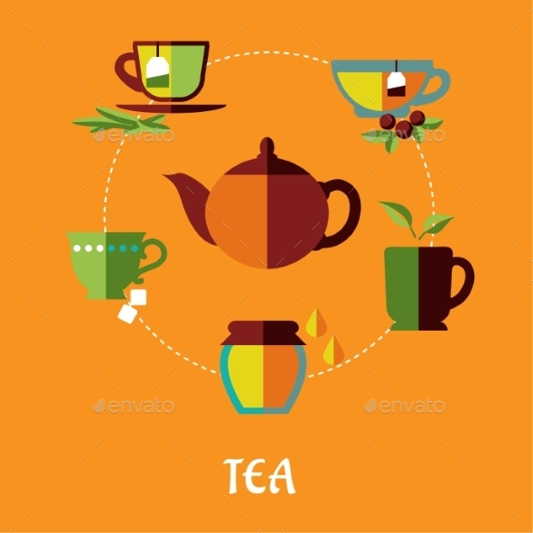 Tea Flat Concept - Food Objects