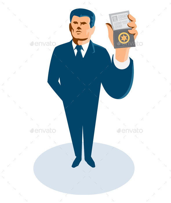 Businessman Secret Agent Showing ID Badge - People Characters