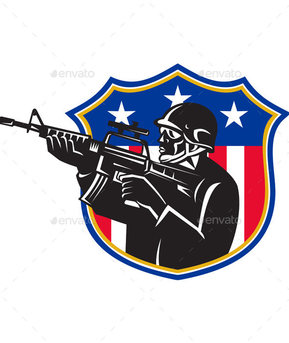 Soldier Swat Policeman Rifle Shield - People Characters