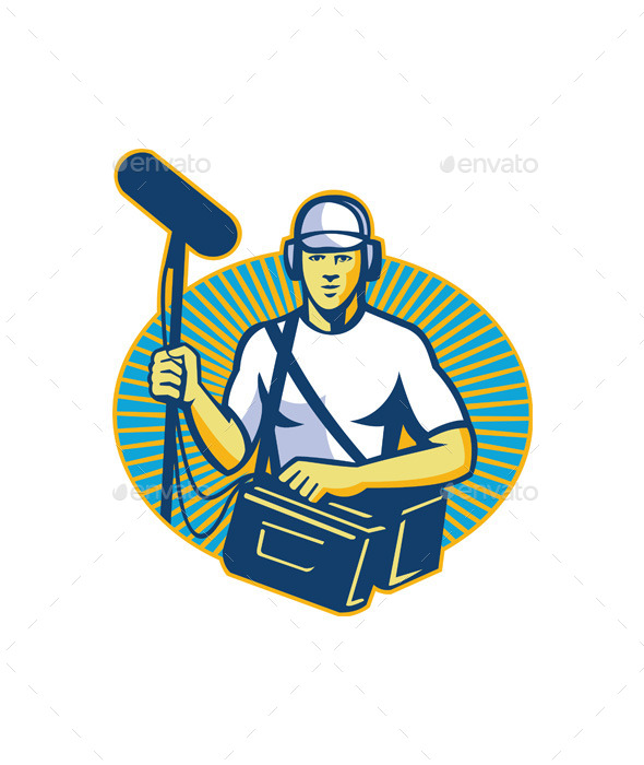 Soundman Worker with Microphone  - People Characters