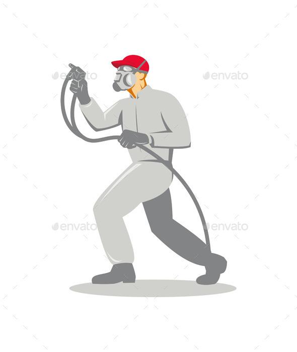 Spray Painter Spraying Gun - People Characters
