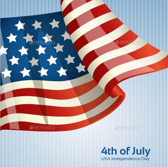 Poster with the American Flag - Seasons/Holidays Conceptual