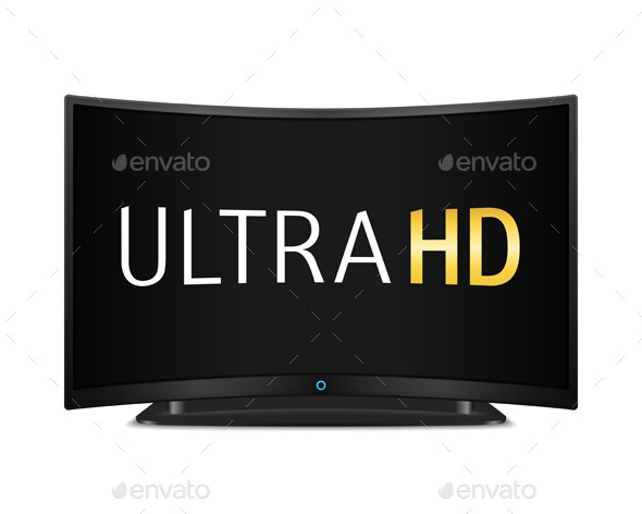 TV with Curved Screen - Objects Vectors