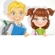 Girl and Boy with Books and Banner - GraphicRiver Item for Sale
