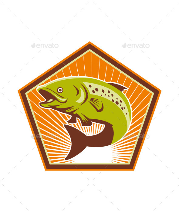 Retro Trout Fish Jumping  - Animals Characters