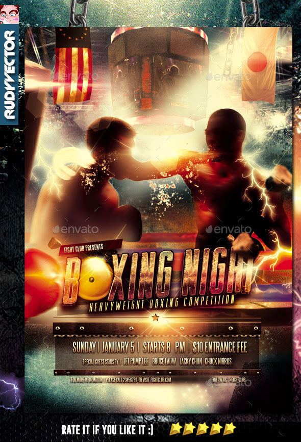 Boxing Fight Night Flyer Template by rudyvector | GraphicRiver