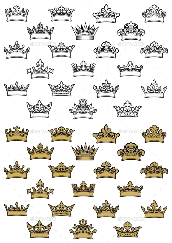 Antique Crown Icons - Decorative Symbols Decorative