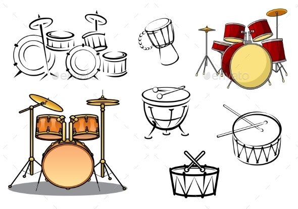 Percussion Instrument Icons - Objects Vectors