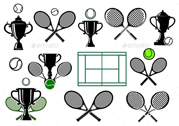 Tennis Tournament Icons - Sports/Activity Conceptual