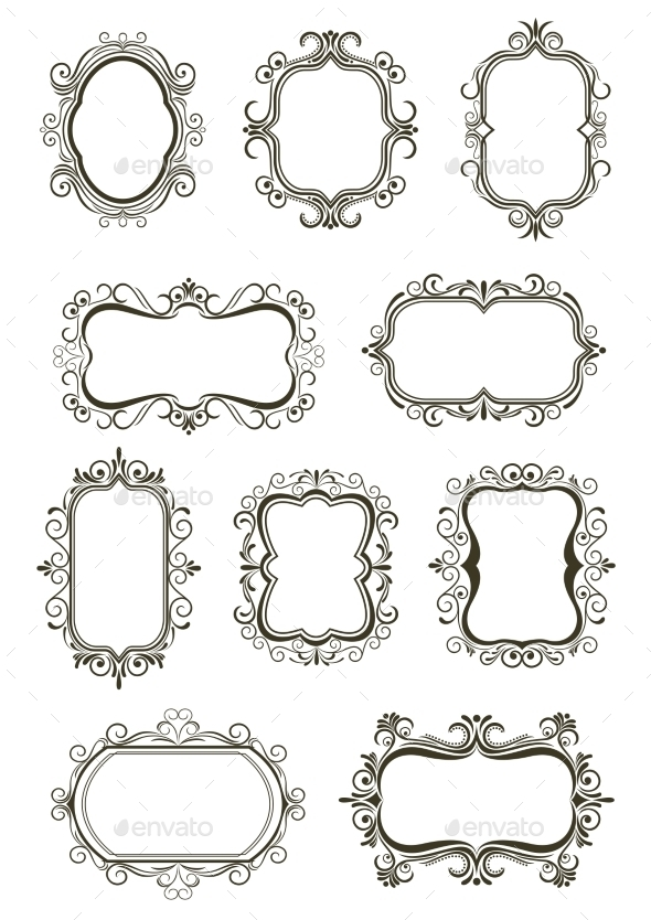 Vintage Border Frame Icons - Borders Decorative