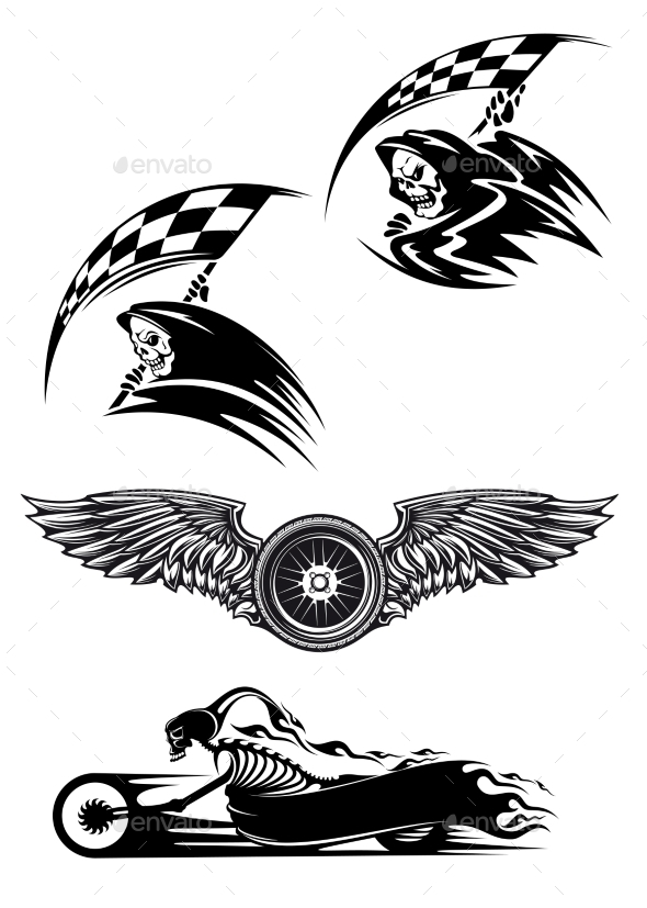 Motocross Mascot Design - Tattoos Vectors