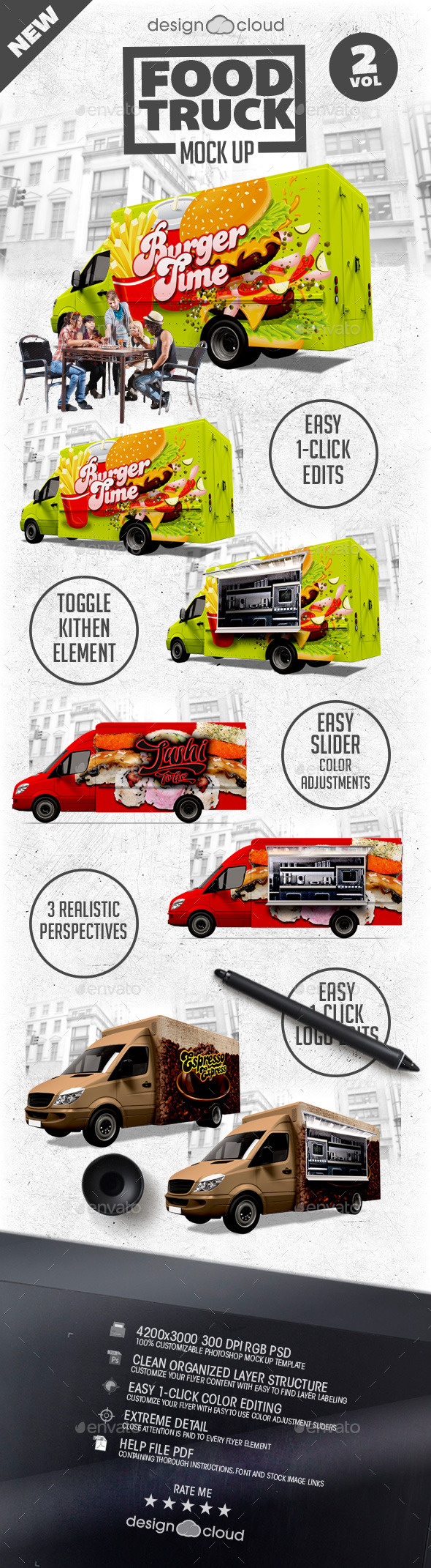 Food Truck Mock Up Kit Vol. 2 - Vehicle Wraps Print