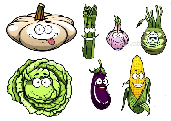 Cartooned Squash, Asparagus, Garlic, Kohlrabi, Cabbage - Characters Vectors