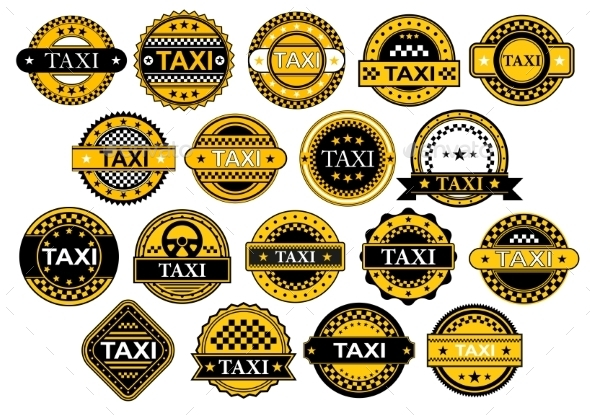Taxi Labels in Retro Style - Travel Conceptual