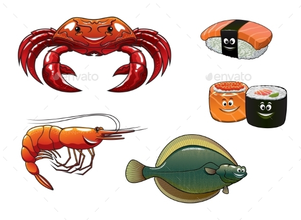 Seafood Cartoon Characters - Characters Vectors