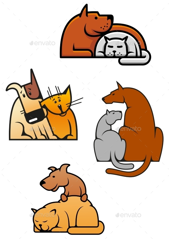Cat and Dog Cartoons - Animals Characters
