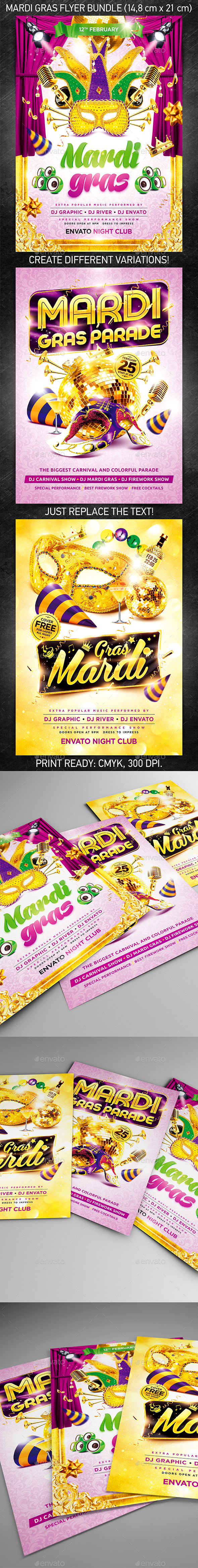 Mardi Gras Party Flyer Bundle - Holidays Events
