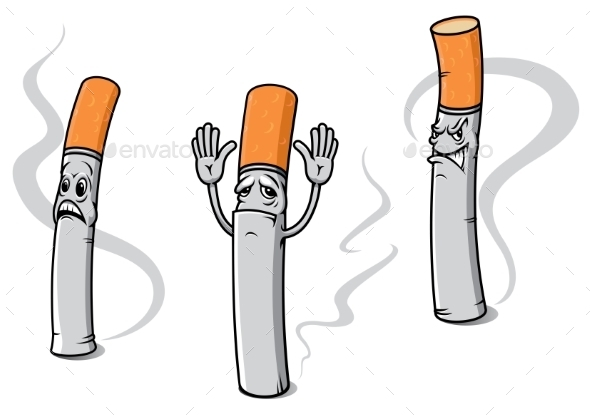 Cartoon Cigarette Characters - Health/Medicine Conceptual