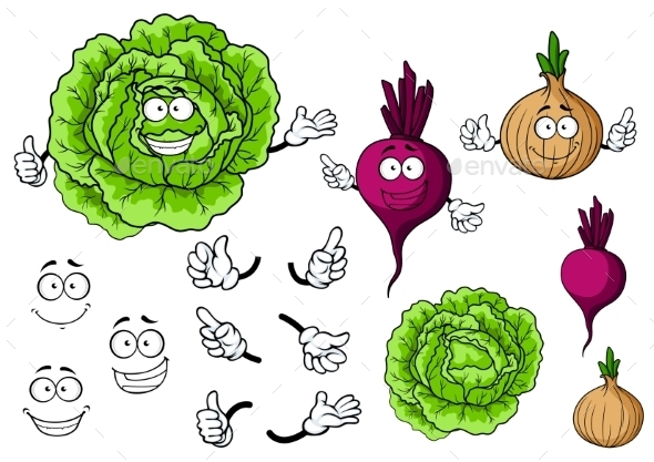 Vegetable Cartoons - Characters Vectors