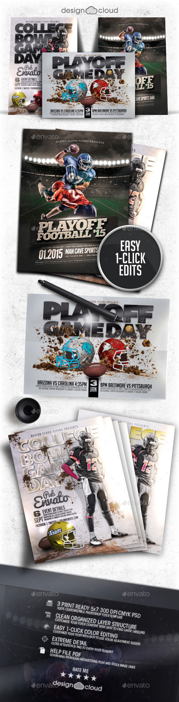 Playoff Football Flyer / Poster Template Bundle - Sports Events