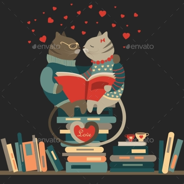 Cats Reading Book - Animals Characters