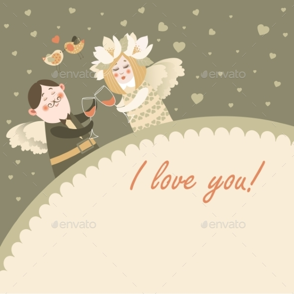 Angels Celebrating Valentine's Day - Characters Vectors
