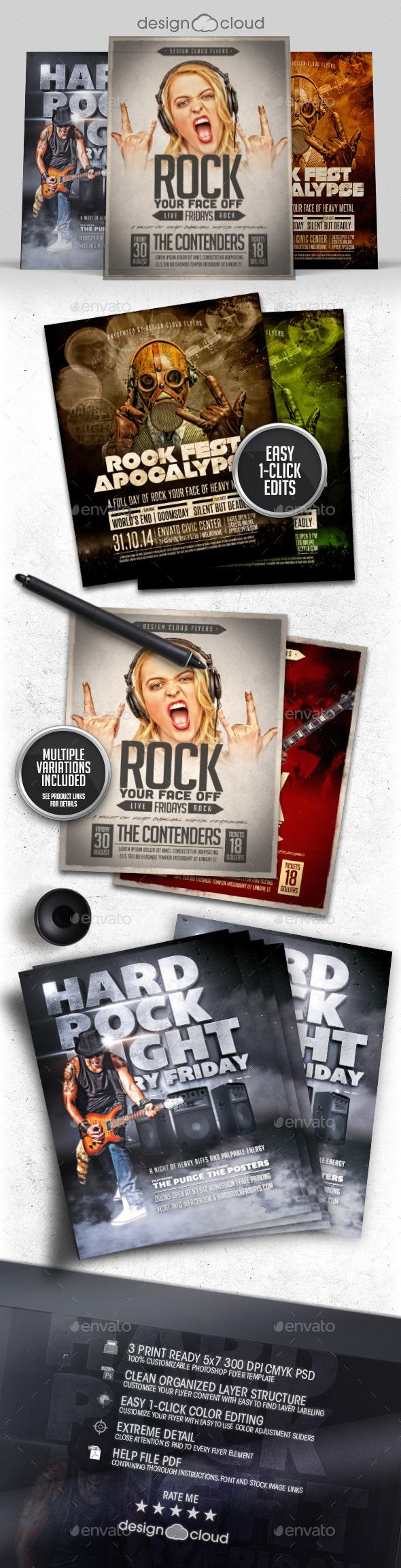 Rock-n-Roll Flyer / Poster Template Bundle - Concerts Events