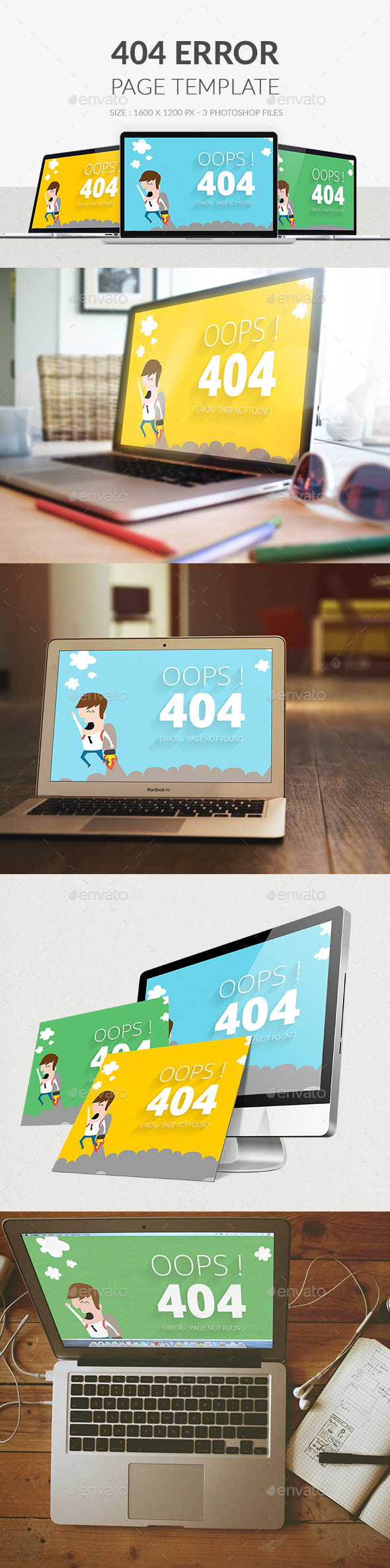 404 Error Page PSD - 404 Pages Web Elements