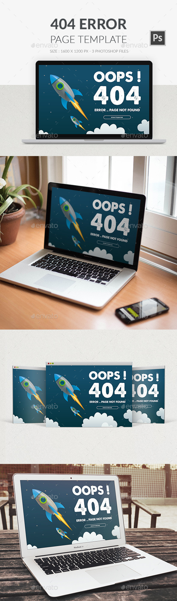 404 Error Page PSD - 404 Pages Web Elements
