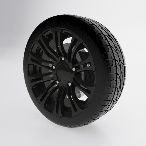 Alloy wheel with tire - 3DOcean Item for Sale